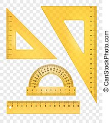 rulers and triangles - Yellow rulers and triangles set....
