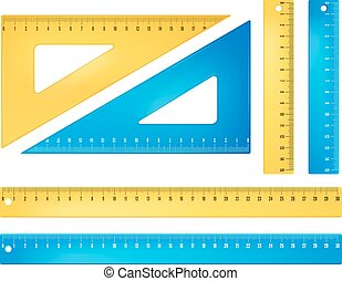 Blue and yellow rulers - Plastic blue and yellow rulers and...