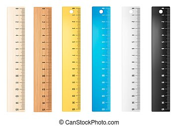Plastic vector rulers - Colored plastic and wooden rulers....