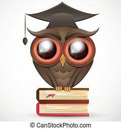Academic Owl vector - Owl school a wise teacher knowledge...