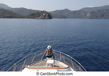 Turkish boat trip - An english lady relaxing while on a boat...