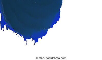blue paint flowing down in slow motion - close-up view of...