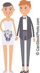 boda, lesbiana, parejas, vector, caracteres