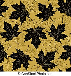 Fall leaf seamless pattern. Autumn foliage. Repeating golden...