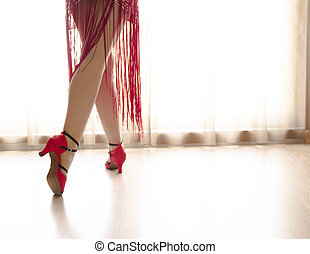 Legs of woman dancing
