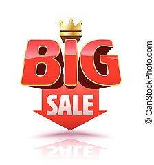 Big sale red arrow icon 3D style