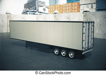 Empty semi-trailer on city background. Mock up, 3D Rendering