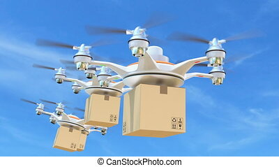 Delivery drones with cargo package for fast delivery concept...