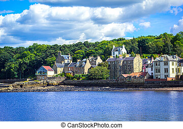 Panorama of South Queensferry near Edinburgh, Scotland, UK