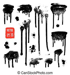 Ink drops. Grunge paint. Design element set. Vector...