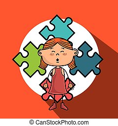 girl kids puzzle icon