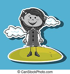 kid cloud meadow icon vector illustration graphic