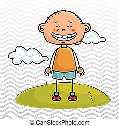 boy kid cloud meadow icon vector illustration graphic