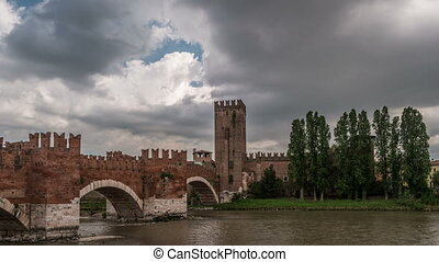 Timelapse of medieval stone bridge Ponte Scaligero built in...