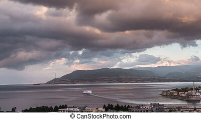 Timelapse of the Port of Messina in Sicily - Day to night...