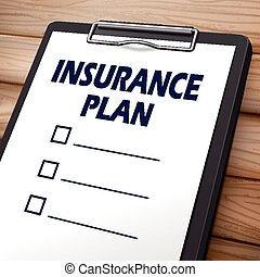 insurance plan clipboard 3D image with check boxes on it