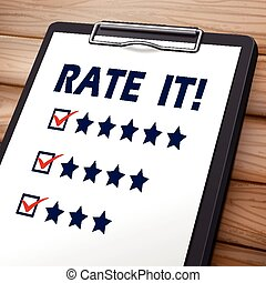 rate it clipboard 3D image with check boxes marked for stars