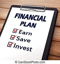 financial plan clipboard
