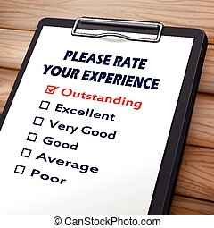 please rate your experience clipboard 3D image with check...