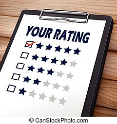 your rating clipboard 3D image with check boxes marked for...