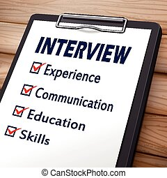 interview clipboard 3D image with check boxes marked for...
