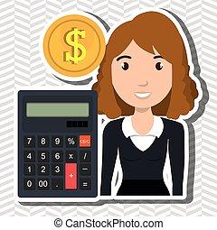 woman calculator coins dollar vector illustration graphic