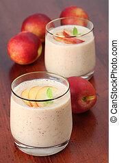 Nectarine milk shake - Fresh nectarine milk shake in two...