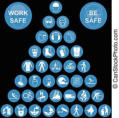 Cyan Pyramid Health and Safety Icon - Cyan construction...