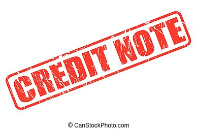 CREDIT NOTE red stamp text on white