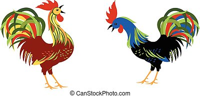 Roosters with colorful tails on isolated background