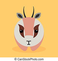 Cute Cartoon gazelle - Cute cartoon gazelle on a orange...