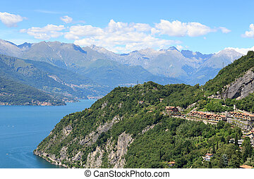 Mountain panorama at Lake Como and village Varenna in...