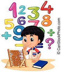 Boy doing math with abacus illustration