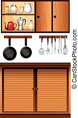 Kitchen appliances and cabinets
