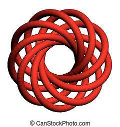 Torus knot - Vector illustration of abstract torus with a...