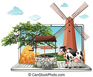 Cow and well on computer screen illustration