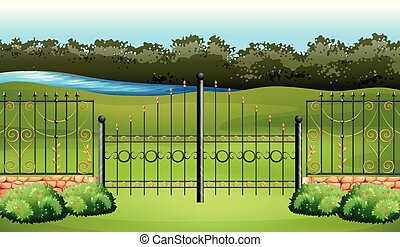 Scene with metal fence in the garden