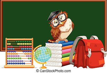 Blackboard and many educational materials illustration