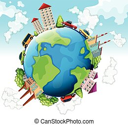 Buildings and cars on earth illustration