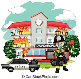 Fire fighter at the fire station illustration