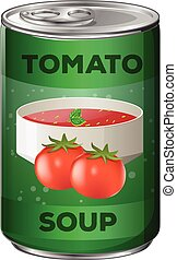 Tomato soup in aluminum can illustration