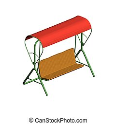 Bench - Vector illustration of a summer shop with an awning...