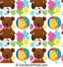 Seamless background with teddybear and ball illustration