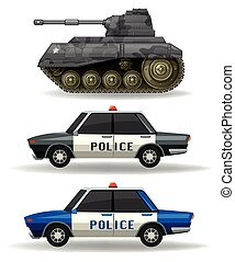 Police cars and military tank illustration