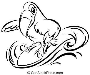 Toucan bird on surfboard illustration
