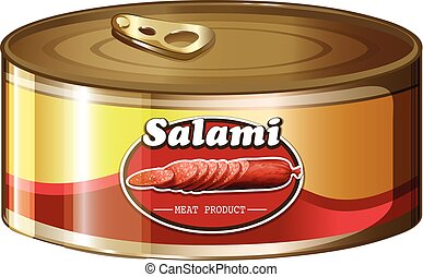 Salami in aluminum can illustration