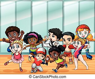 Children in different sport costumes illustration
