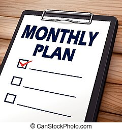 monthly plan clipboard 3D image with check boxes on it