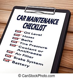car maintenance checklist clipboard 3D image with check...