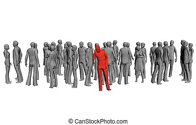 Crowd - Vector illustration of a crowd of gray people and...